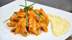 Pasta Recipes : Spicy Carrot Penne Pasta with Mustard and Parsnip Sauce - delicious vegetarian dish, ready in less than 30 minutes! Yummy Pasta Recipes, Spicy Recipes, Vegetarian Recipes, Vegetarian Dish, Spicy Carrots, Penne Pasta, Dinner Is Served, Main Meals, Healthy Cooking