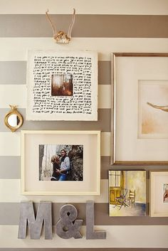 Striped walls, antlers, collage, industrial letters...sigh. Already have the antlers and that exact i love you word frame!