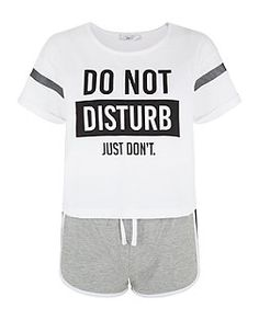 White Do Not Disturb Short Pyjama Set | New Look- I think a t-shirt and shorts are essential pyjamas, especially if you have a really thick duvet. Just don't get ones with 100% cotton shorts- they crease really easily, get trackie shorts.
