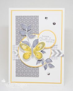 handmade card ...montage topped with a butterfly ... luv the trendy yellow, white and grays ... Stampin' Up!