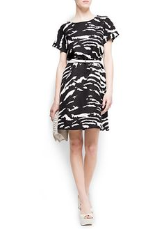 Black and white retro print dress, with cuffed short sleeves by MANGO.