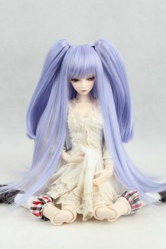 """BJD Doll Hair Wig 6-7"""" 1/6 SD DZ DOD LUTS Purple Blue Straight with ponytails…"""