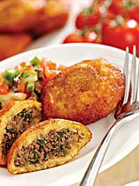 Kubba was next on the menu; deep-fried rice shells filled with a spiced meat mixture.