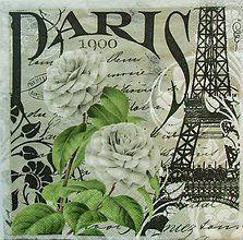 Papier - S596 - Servítky - vintage, Paris, eiffel veža - 6281082_