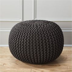 CB2 Knitted Graphite Pouf ($80) ❤ liked on Polyvore featuring home, furniture, ottomans, charcoal gray furniture, charcoal furniture, woven furniture, dark gray furniture and woven ottoman