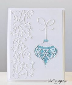 handmade Christmas card by Shelly Mercado . white iwth a pop of powder blue . Memory Box dies for snowflake border and ornament . Homemade Christmas Cards, Christmas Cards To Make, Xmas Cards, Handmade Christmas, Homemade Cards, Diy Christmas, Christmas Ornament, Spellbinders Christmas Cards, Tonic Christmas Cards