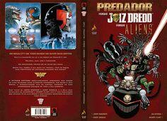 """Detalhes da capa de """"Predador versus Juiz Dredd versus Aliens"""" (Reprodução)"""