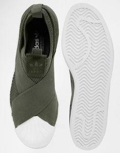 Adidas | adidas Originals Khaki Superstar Slip On Sneakers at ASOS