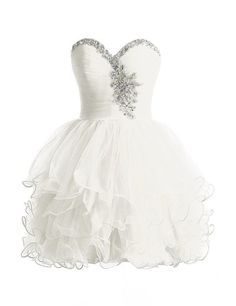 Cute Sweetheart Ball Gown Mini Tulle White Homecoming Dress With Beading 2016 Homecoming Dresses, Hoco Dresses, Cute Dresses, Dress Outfits, Flower Girl Dresses, Bridesmaid Dresses, Sweet 15 Dresses, Sexy Long Dress, Tulle Dress