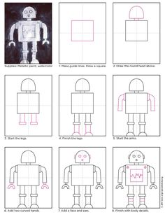 robot art for kids Draw a Robot Art Projects for Kids Robot Painting, Painting For Kids, Robots For Kids, Art For Kids, Projects For Kids, Art Projects, The Wild Robot, Robots Drawing, Drawing Videos For Kids