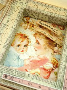 Beautiful Shadow Box Gift with Little Darlings by @Karen Thede #graphic45 #shadowbox