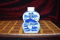 """Asian Porcelain Blue & White Vase Floral, Ducks, Double Happiness Design 7 1/4"""""""