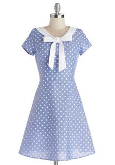 Excellent Rapport Dress - Cotton, Woven, Blue, White, Polka Dots, Tie Neck, Casual, A-line, Cap Sleeves, Good, Mid-length, Spring