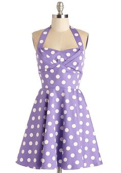 Traveling Cupcake Truck Dress in Violet - Lavender, White, Polka Dots, Print, Daytime Party, Pastel, Fit & Flare, Halter, Spring, Woven, Variation