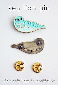 Sea Lion Enamel Pin / Seal Enamel Pin from boygirlparty.etsy.com
