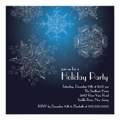 Elegant Snowflakes Christmas Holiday Party Blue Invite   Click on photo to purchase. Check out all current coupon offers and save! http://www.zazzle.com/coupons?rf=238785193994622463&tc=pin