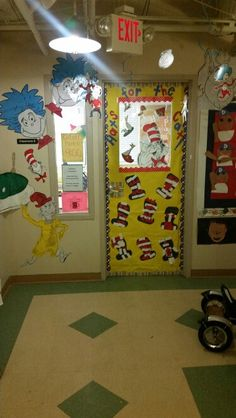 Dr. Seuss themed door #preschool #catinthehat #thing1andthing2 #samiam #hortonhearsawho