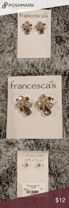 NEW Multi-crystal studs (smaller) Elegant studs with accents of gold, grey, opal, and clear colored crystals clustered. Francesca's Collections Jewelry Earrings