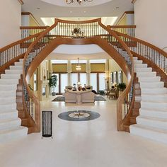 10 unique modern staircase design ideas for your dream house 40 Luxury Staircase, Double Staircase, Modern Staircase, Staircase Design, Grand Staircase, Luxury Homes Dream Houses, Luxury House Plans, Dream House Plans, My Dream House