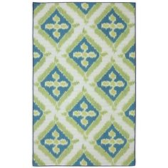 Indoor/Outdoor Floral Splash Rug (8' x 10') | Overstock.com - geometric ivory/white, lime/sage green & turquoise/blue