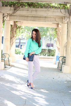Ann Taylor Popover Blouse + Banana Republic Hampton Dot Cropped Pants14 by Stylish Petite, via Flickr