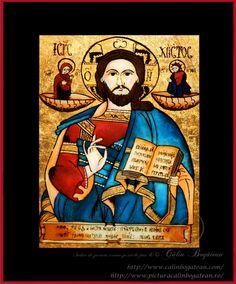 Iisus Hristos învățător icoană naivă pictată pe dosul sticlei în ulei pictură tradițională lucrare de artă religioasă icoană ortodoxă pe sticlă icoană Iisus Hristos învățător icoană  pictată  pe sticlă cu Iisus Hristos