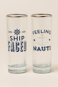 The Feeling Nauti Shot Glass Set is a set of 2 shot glasses that are 2 fl ounces each! These shot glasses are perfect for your next summer party! Paint And Drink, Wedding Wine Glasses, Shot Glass Set, Vinyl Projects, Vinyl Crafts, Wine Bottle Crafts, Glass Collection, Glass Design, Home Gifts