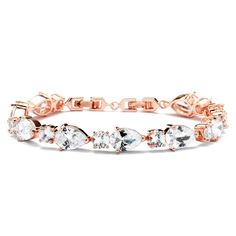 Stunning Rose Gold Plated CZ Pears and Rounds Wedding Bracelet - Affordable Elegance Bridal -