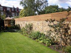 Contemporary Slatted Panels - Slatted Fence Panels - Essex UK, The Garden Trellis Company Slatted Fence Panels, Garden Fence Panels, Garden Privacy, Garden Fencing, Horizontal Slat Fence, Privacy Plants, Brick Wall Gardens, Brick Garden, Brick Fence