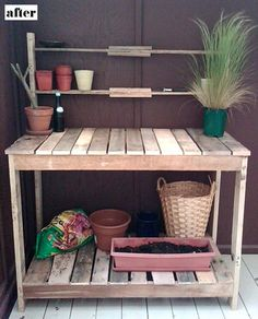 A cheap potting table made from used shipping pallets, #DIY, for before and after picture see http://www.designsponge.com/2010/07/before-after-deborahs-potting-station-leelas-futon-bench.html