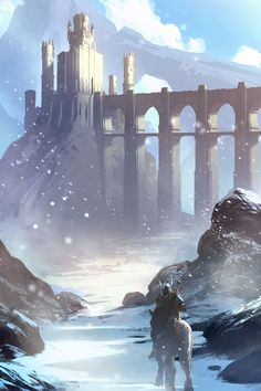 Snow Castle, by Ryan Gitter Fantasy City, Fantasy Castle, Fantasy Places, High Fantasy, Medieval Fantasy, Fantasy World, Sci Fi Fantasy, Fantasy Concept Art, Fantasy Artwork
