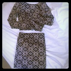 AZTEC mini skirt and shirt set Dark tan and black aztec mini skirt. If you want the top as well will negotiate a price. Arden B Skirts Mini