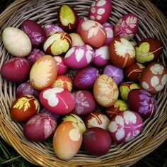 ***Easter eggs died with natural dyes. by cecilia***Preceeding statement theirs but mine is: Eggs dyed these colors would make a lovely display on a brunch or breakfast buffet for overnight fall company...