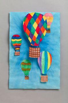 Tapa álbum escolar en 3D. Dibujar portada trabajos clase globos aerostáticos con perspectivas