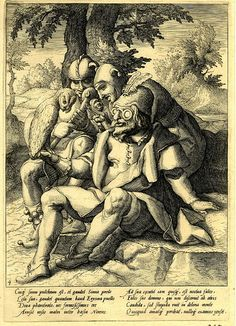 The wisdom of fools  Three fools sitting together, one has thick-rimmed glasses and has an owl perched on his wrist; first state with Latin text; unsigned; after Karel van Mander. c.1592.