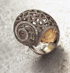 Trendy Diamond Rings : Alex Soldier  blackened gold snail ring