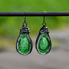 Bohemian earings, drop earings with mysterious GREEN glass, statement earings, old silver dangle earings, rustic earings, green earings