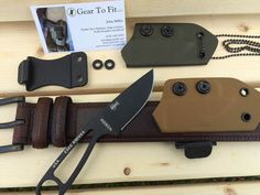 Sheaths for ESEE Izula Knife.  Each sheath can be worn in a horizontal belt position or remove the belt clip and wear it as a neck knife.  Sheath is made to allow for a full grip on the knife before you draw it from the sheath.
