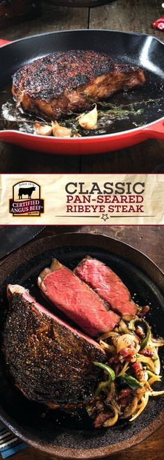 Certified Angus Beef®️️️️ brand Classic Pan-seared Ribeye Steak is made with the best ribeye steak, charred to perfection and juicy on the inside for a mouth-watering meal! Seasoned perfectly with thyme, garlic cloves, and salt & pepper, this is a must-try steak recipe.  #bestangusbeef #certifiedangusbeef #beefrecipe #steakrecipes #dinnerrecipes