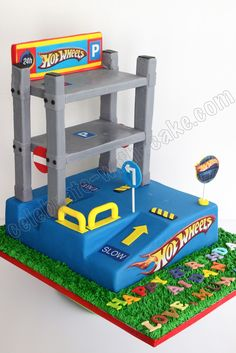 OMG coolest cake ever Hotwheels Race Track Cake ideas for Noah