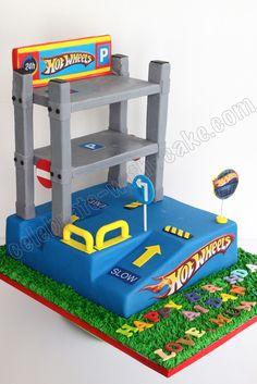 OMG coolest cake ever Hotwheels Race Track Cake ideas for Noah