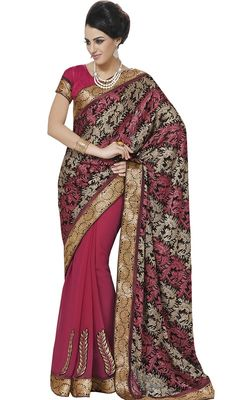 Prep up your wardrobe by getting this pink shade brasso and raw silk half n half sari. The charming lace and resham work a considerable attribute of this saree. Upon request we can make round front/back neck and short 6 inches sleeves regular saree blouse also.  #BeautifulFloralDesignRawSilkSaree