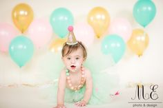 Media, PA Cake Smash 1st Birthday Portrait Photography | Baby Kylie | Aqua, Gold and Pink First Birthday Session | Cake Smash Feminine and Fun | First Birthday Photo Props Tutu Balloons and Birthday Hat | #mephotodesign #firstbirthday #oneyyearold #birthdaygirl #cakesmash #cakesmashphotosession #firstbirthdayphotography