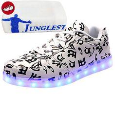 (Present:kleines Handtuch)Weiß EU 41, Led High Licht JUNGLEST® Blinkende Leuchtende Light Schuhe Top Damen Neu Sneakers