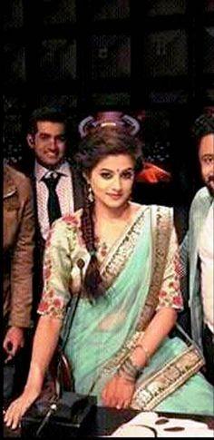priyamani in teal coloured saree. costume by pranaah