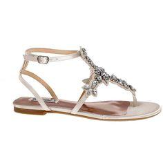 fec8433e2fc Badgley Mischka Cara Satin Crystal Embellished Flat Thong Sandals featuring  polyvore