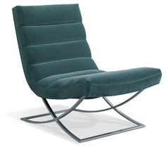 Graceful and light, this modern accent chair shows off a beautifully curved silhouette. The deep teal color is on trend too. It would be beautiful in any office or living room.