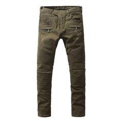 Batmo 2018 New Men's Nightclubs army green Jeans, Fashion Designer many pocket Denim Jeans Men,plus-size casual jeans Lässigen Jeans, Biker Jeans, Casual Jeans, Buy Jeans Online, Army Green Jeans, New Man, Jeans Fashion, Khaki Pants, Pocket