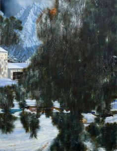 Nigel Cook (British, b. 1973) Books in Snow, 2015 180 x 232.5 cm, oil on linen
