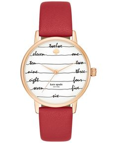 kate spade new york Women's Metro Red Leather Strap Watch 34mm KSW1061